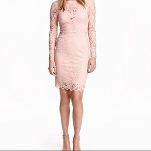 Light Pink lace long sleeve dress bodycon midi